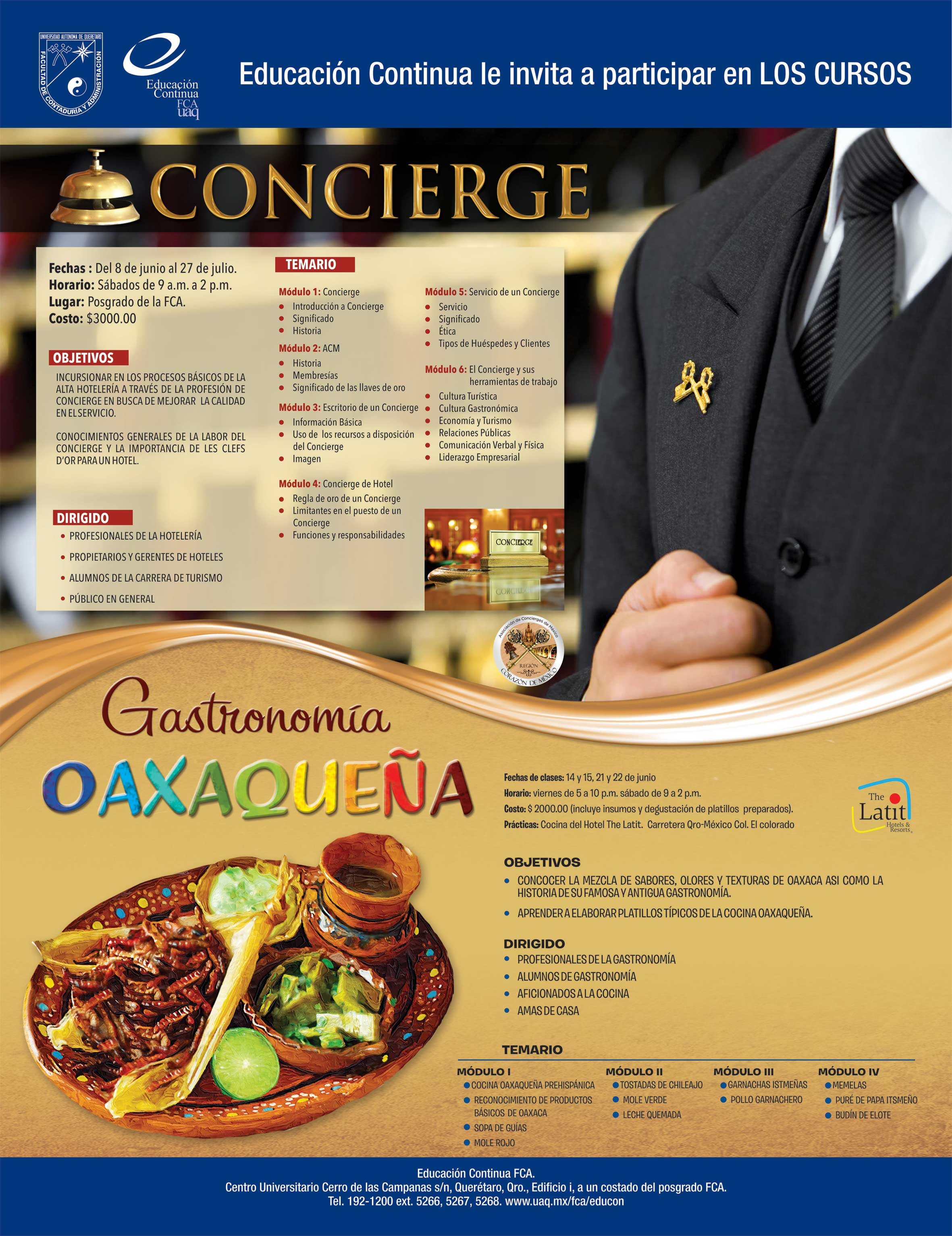 La UAQ invita a participar en los cursos: Concierge y Gastronomía Oaxaqueña