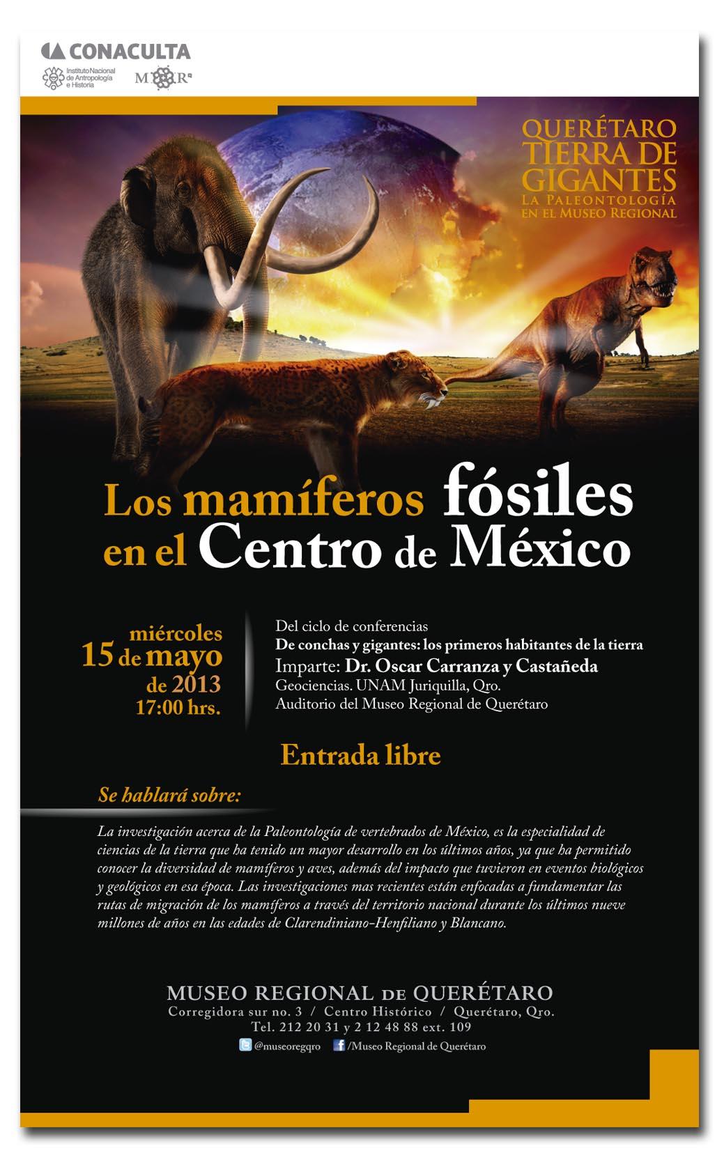"""Conferencia – """"Querétaro Tierra de Gigantes: Los mamíferos fósiles en el Centro de México"""""""