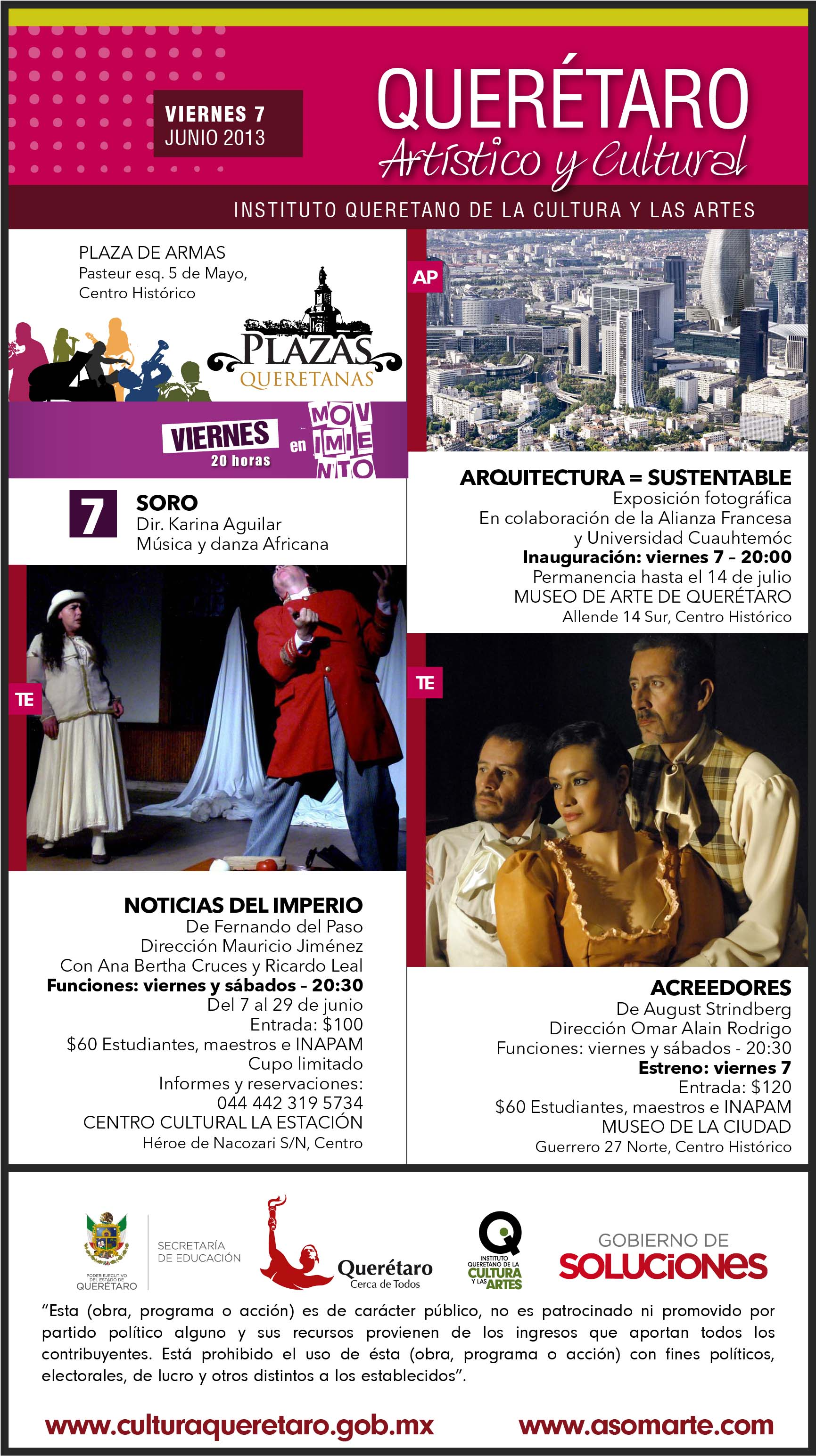 Cartelera Cultural del Viernes 7 de Junio