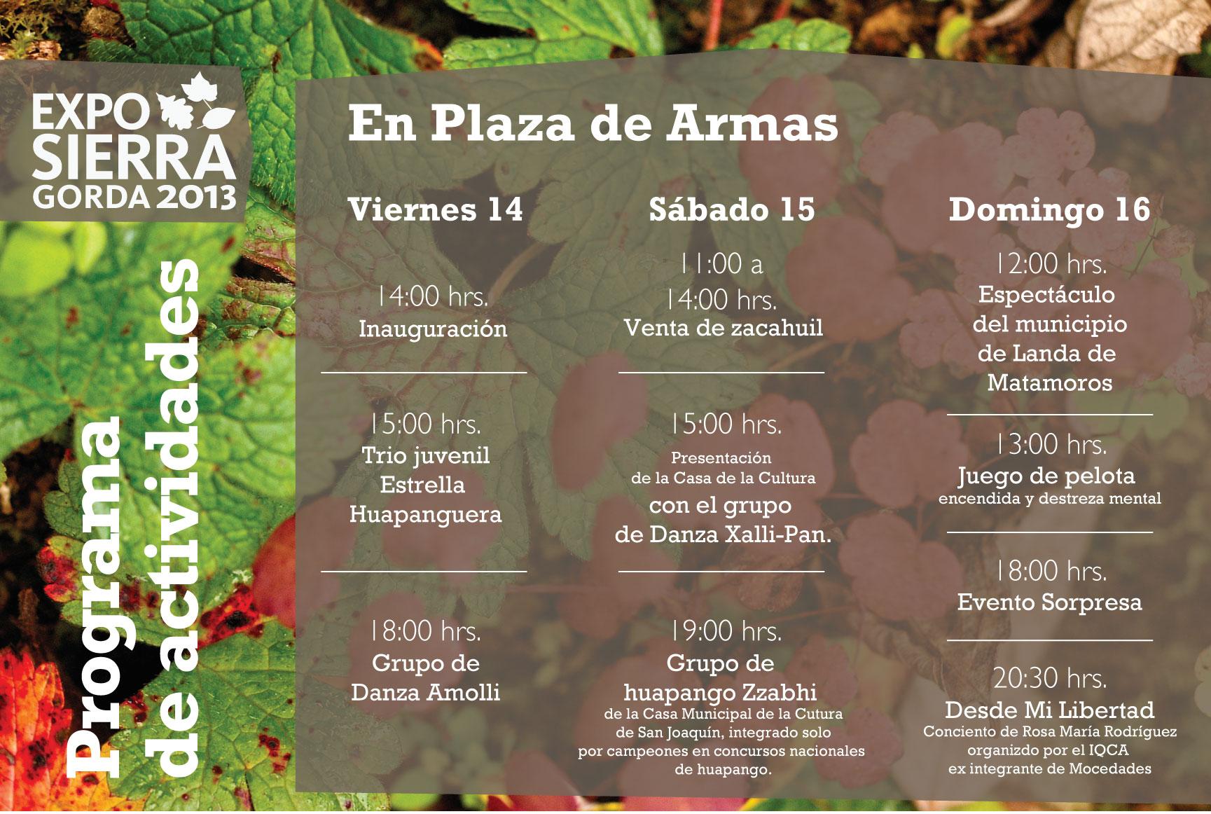 Expo Sierra Gorda 2013 – Programa de Actividades y Trivia