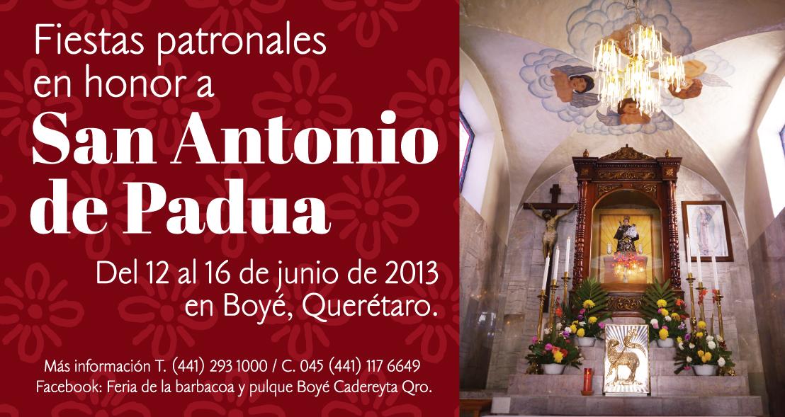 Fiestas Patronales en honor a San Antonio de Padua en Boyé, Querétaro