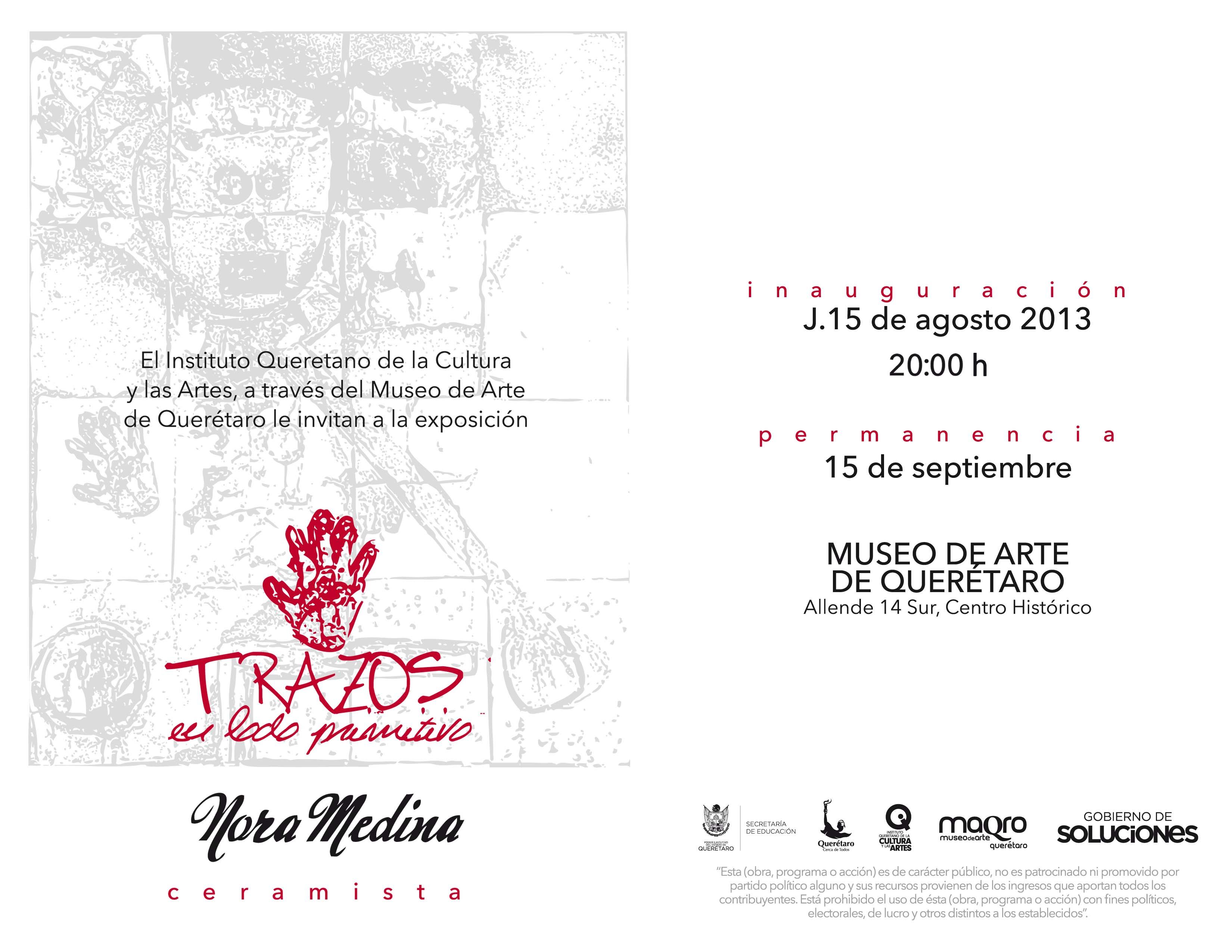 """Exposición de Nora Medina """"Trazos, el lado primitivo"""""""