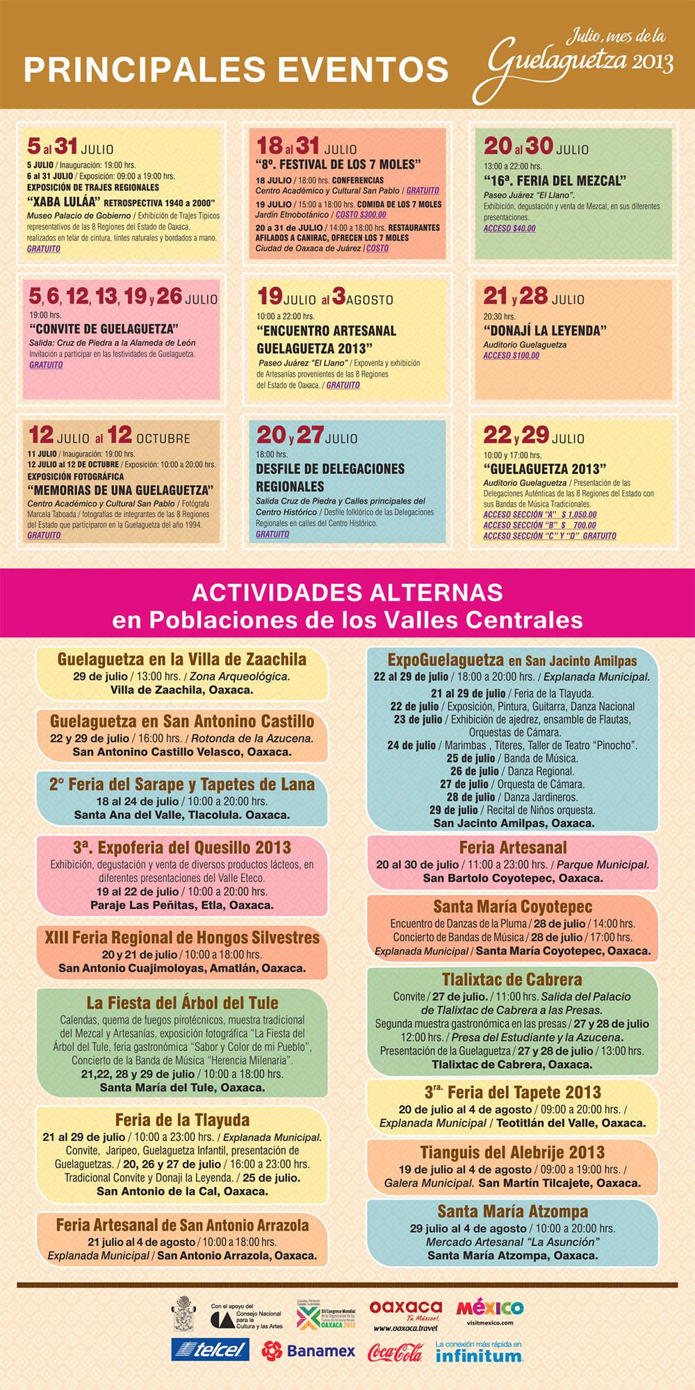Programa de actividades y eventos Guelaguetza 2013
