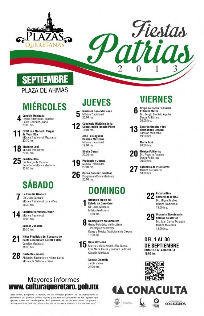Programa de actividades Fiestas Patrias 2013