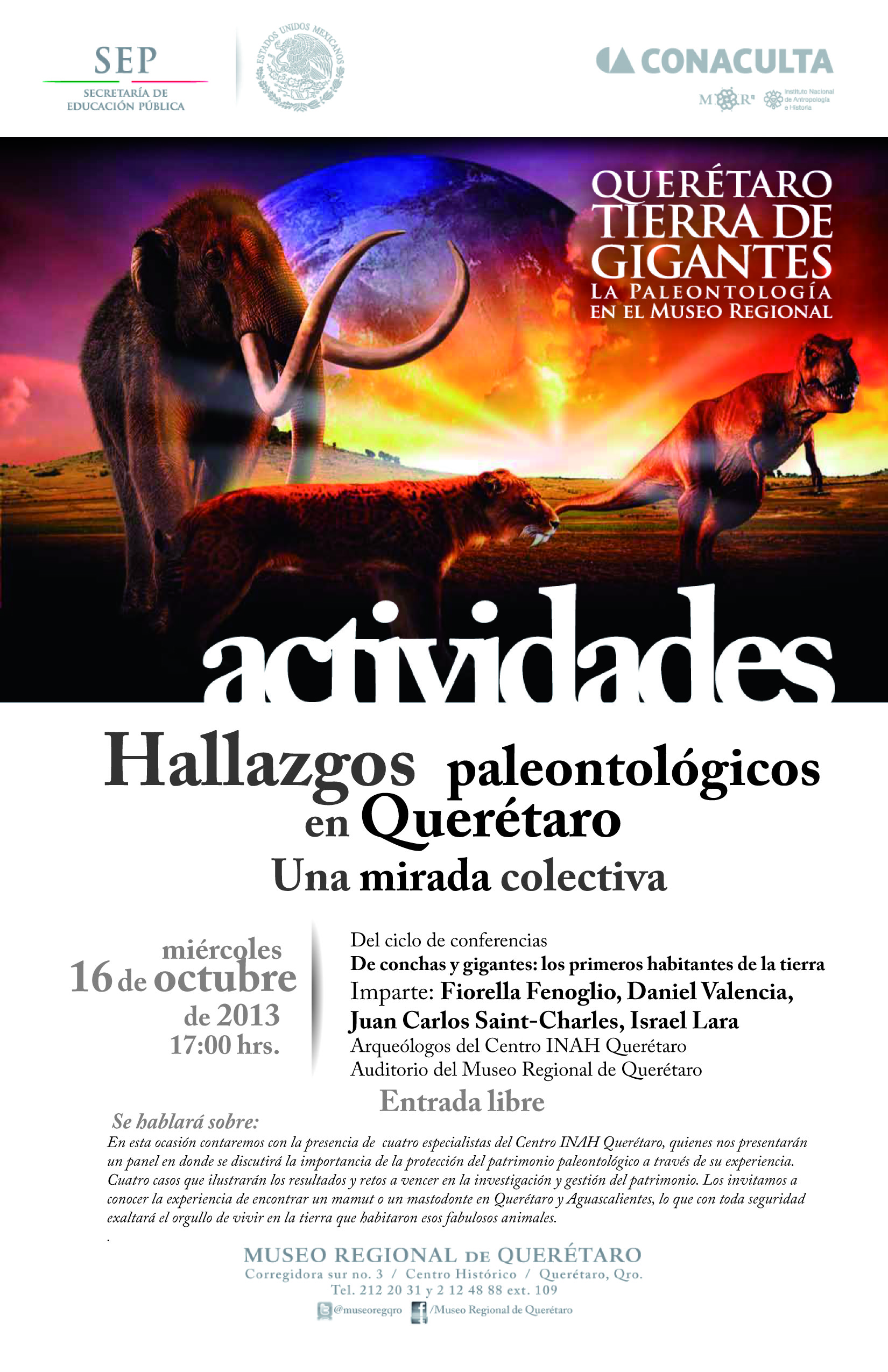 Conferencia: Hallazgos paleontológicos en Querétaro