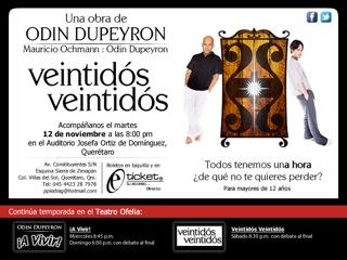 """Veintidós veintidós"" – Una obra de Odin Dupeyron – 12 de Noviembre Auditorio Josefa"