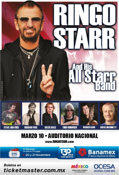 Ringo Starr & His All Starr Band regresan a México 10 de Marzo en el Auditorio Nacional