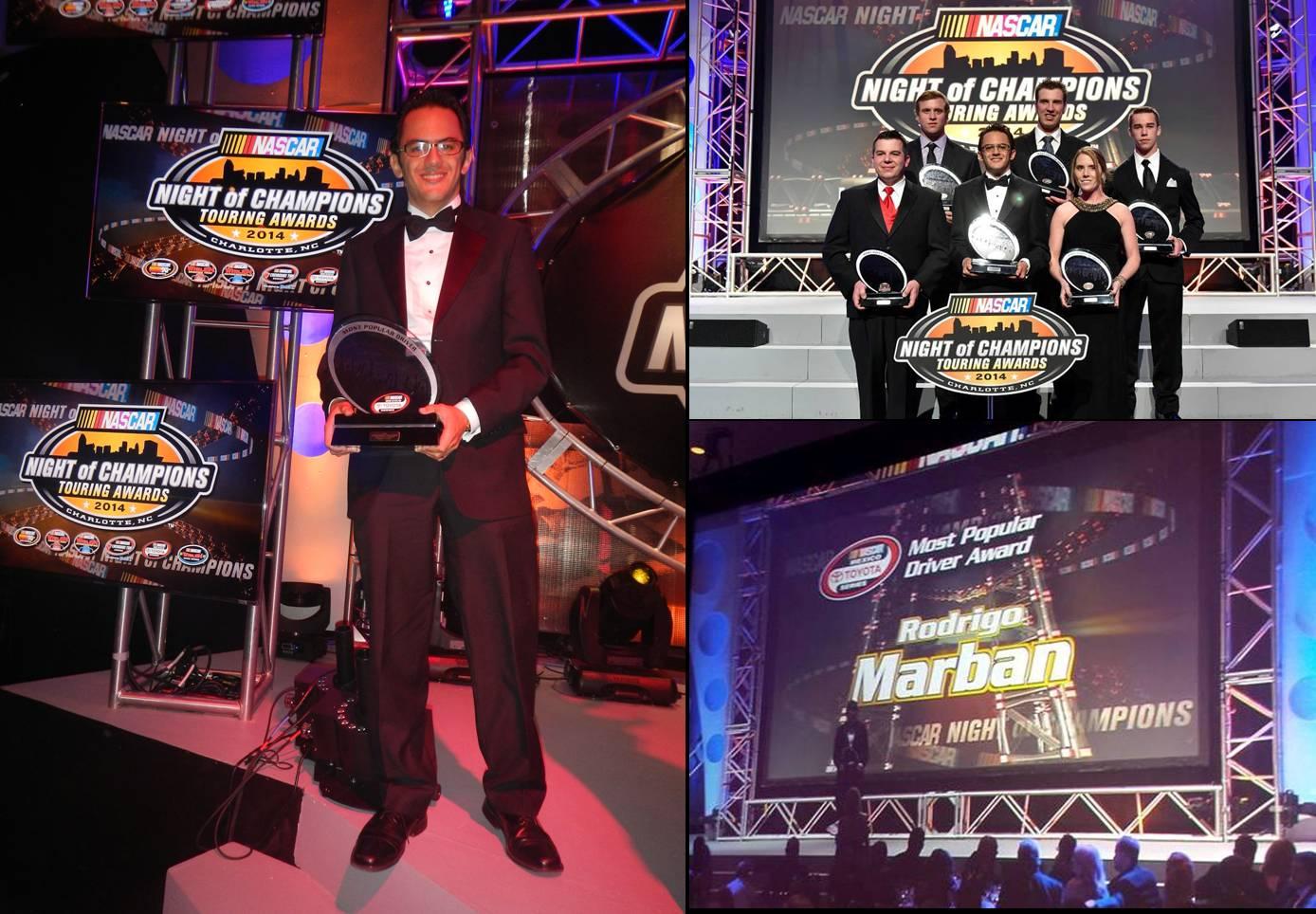 """Rodrigo Marbán es galardonado en la """"Noche de Campeones"""" de NASCAR en Charlotte"""