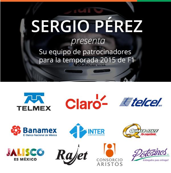 Sergio Perez y sus patrocinadores listos para la temporada 2015 de Fórmula 1