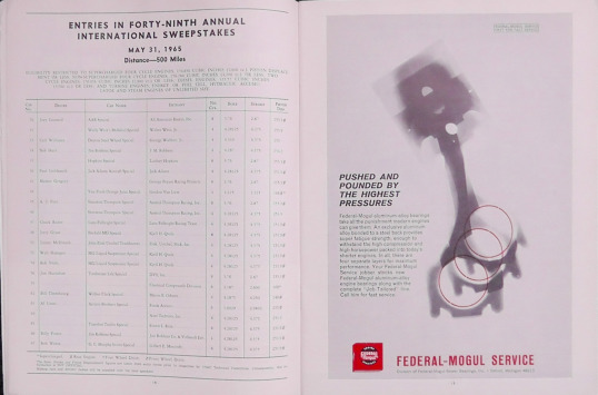 1965 Indy 500 race programme 5