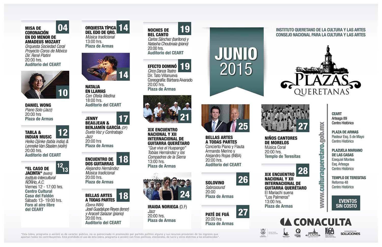 Plazas Queretanas – Programa de Junio del 2015