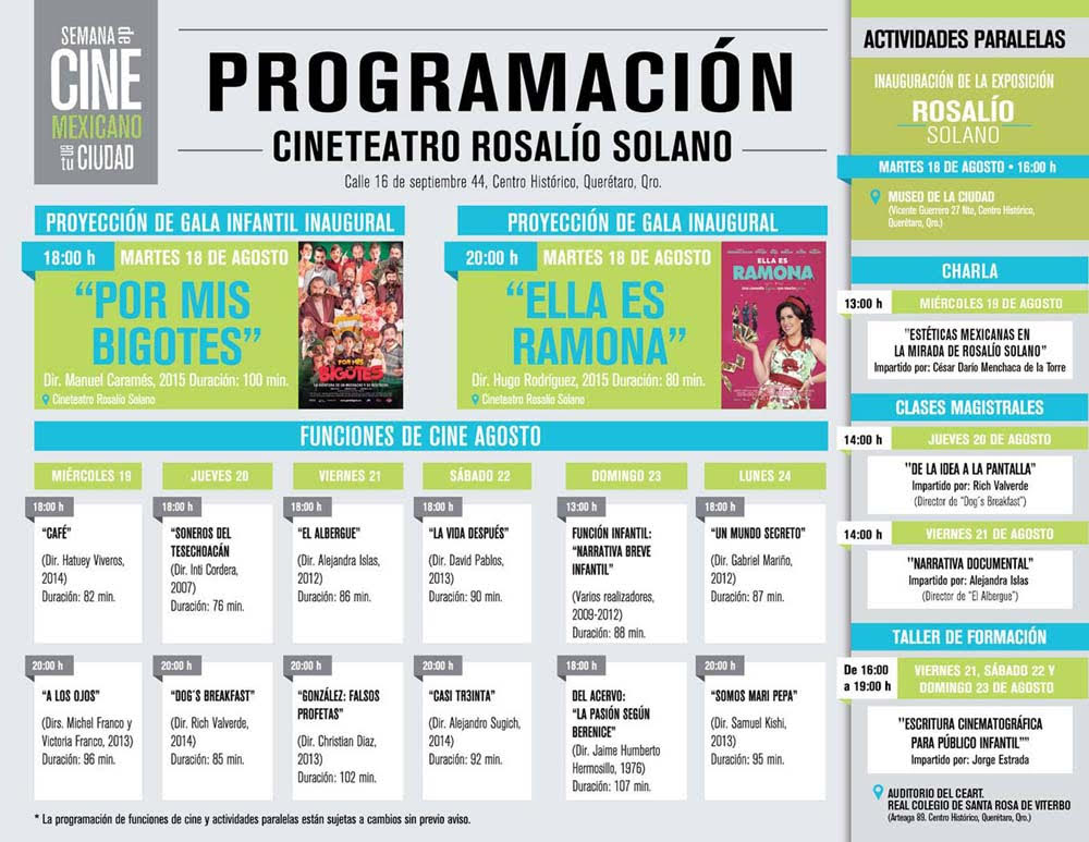 Se llevará a cabo en Querétaro la Semana del Cine Mexicano en tu Ciudad