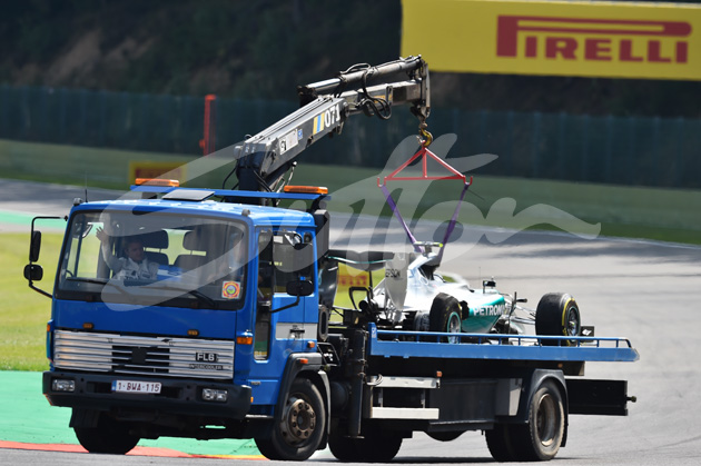 Nico Rosberg (GER) Mercedes AMG F1 W06 returns in the truck after his Pirelli tyre expolded in FP2 at Formula One World Championship, Rd11, Belgian Grand Prix, Practice, Spa Francorchamps, Belgium, Friday 21 August 2015. BEST IMAGE