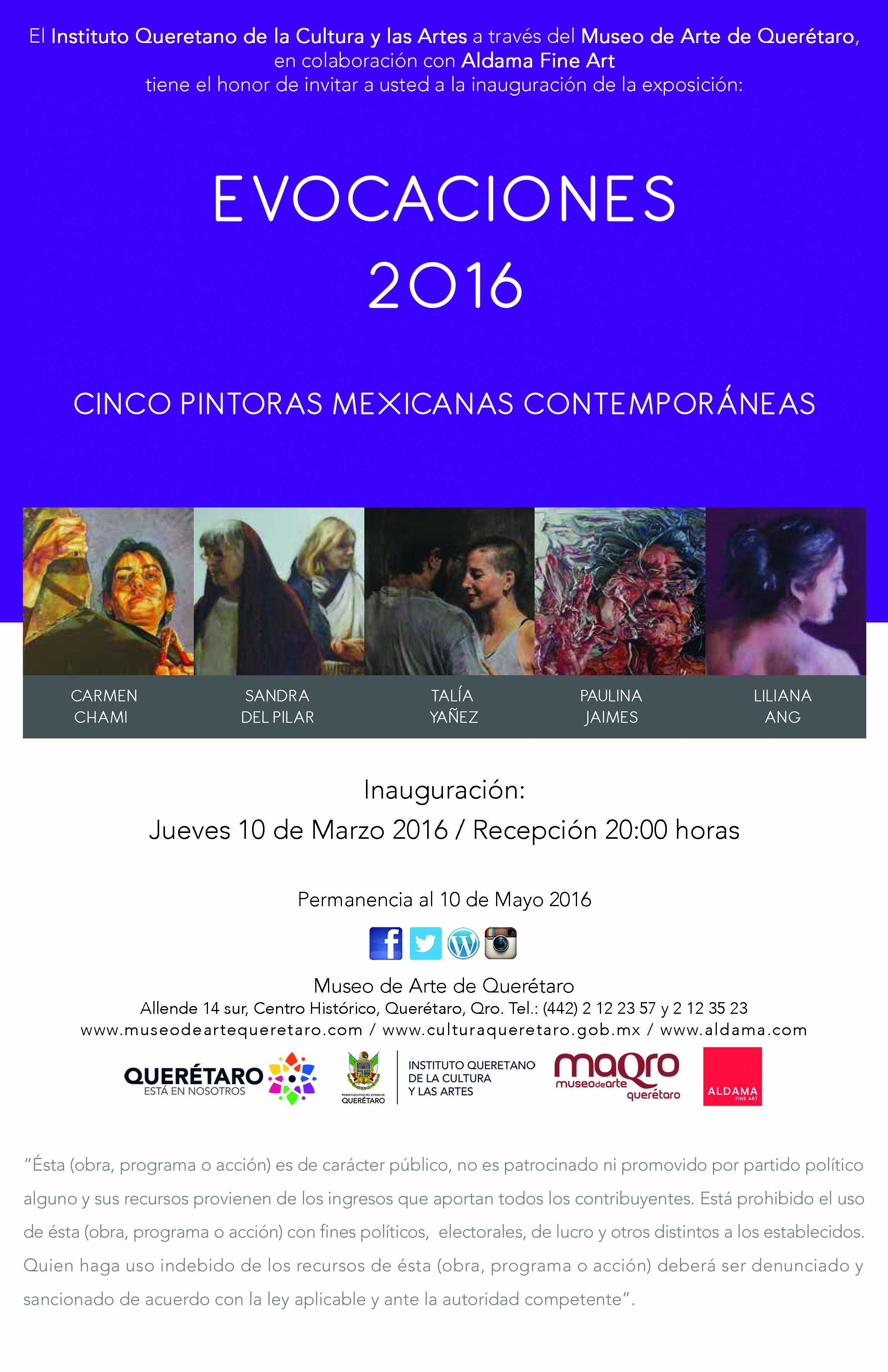 """""""EVOCACIONES 2016"""" – Cinco Pintoras Mexicanas Contemporáneas en el Museo de Arte de Querétaro"""