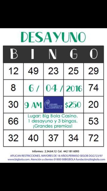 Bingo en Big Bola Casino a beneficio de Hogares Providencia