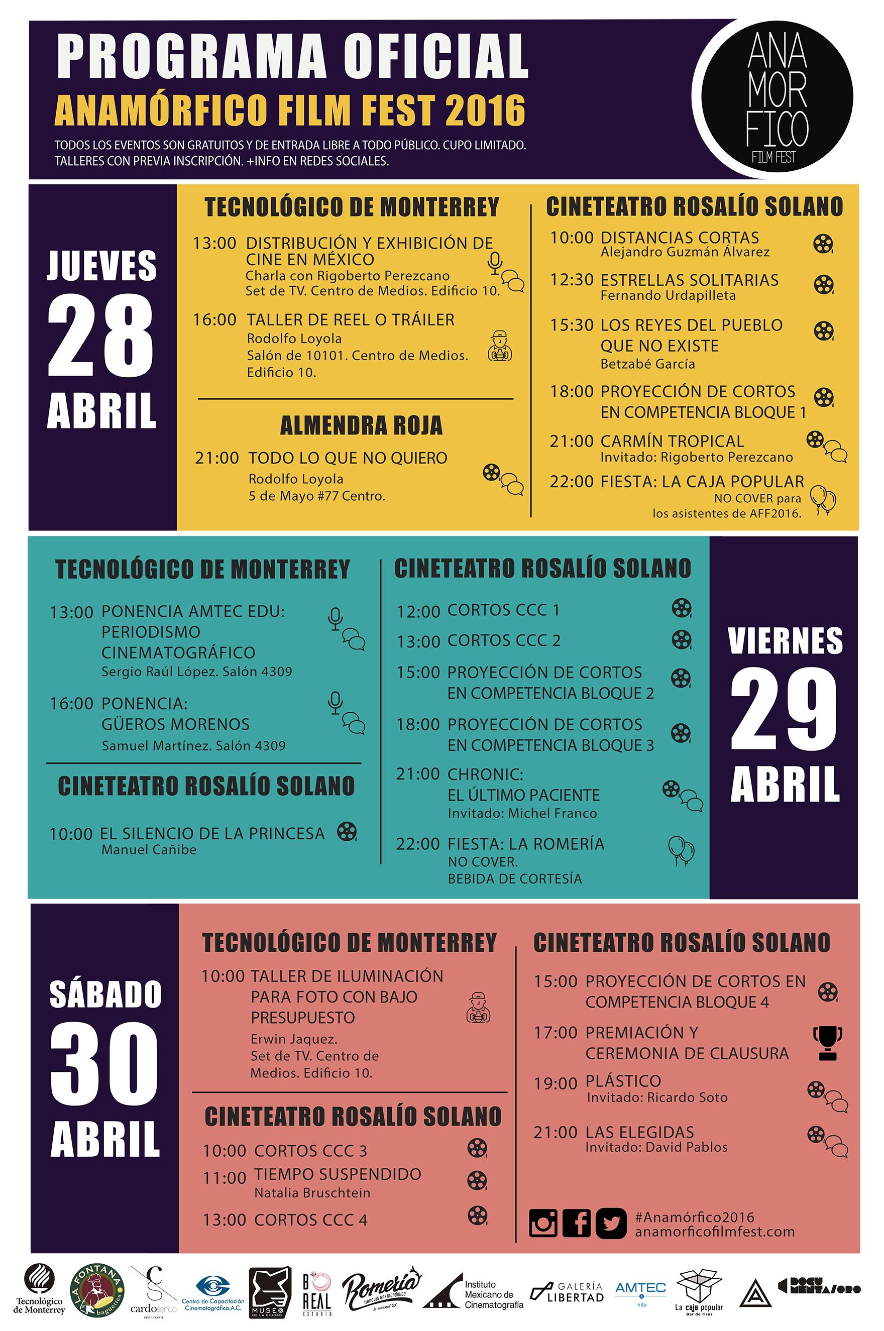 ANAMÓRFICO FILM FEST 2016 – Programa de actividades